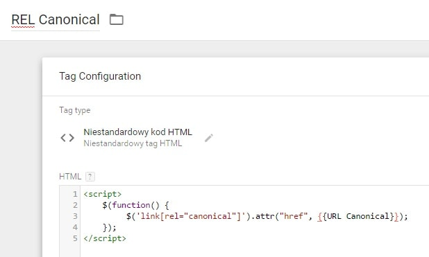 GTM HTML tag: REL canonical (jQuery)