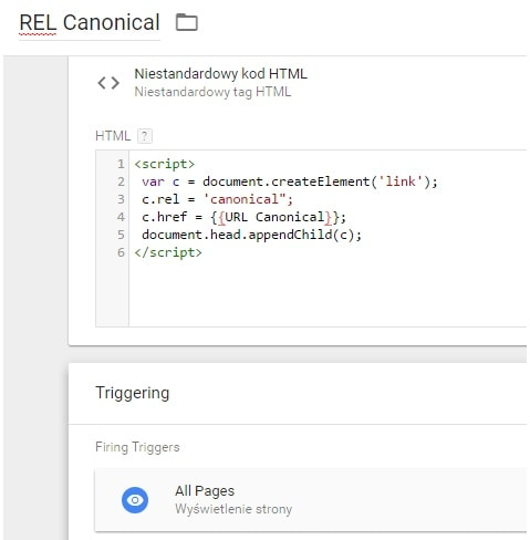 GTM tag: REL canonical